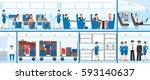 airplane interior set. pilots... | Shutterstock .eps vector #593140637