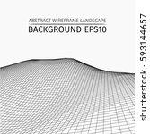 wire frame landscape background.... | Shutterstock .eps vector #593144657