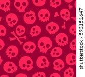 seamless pattern with skulls.... | Shutterstock .eps vector #593151647