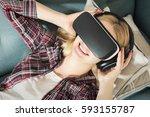 attractive woman wearing... | Shutterstock . vector #593155787