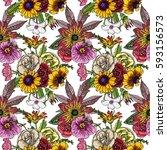 various flowers   roses  dahlia ... | Shutterstock .eps vector #593156573