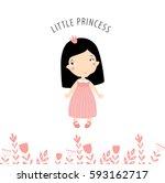 little princess in a pink dress.... | Shutterstock .eps vector #593162717