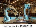 welding robots movement in a... | Shutterstock . vector #593180117