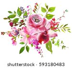 pink flowers watercolor ... | Shutterstock . vector #593180483
