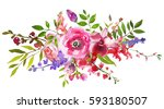 pink violet flowers watercolor... | Shutterstock . vector #593180507