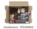 cute toddler boy with his... | Shutterstock . vector #593183003