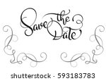 save the date text on white... | Shutterstock .eps vector #593183783
