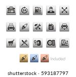 gas station icons   the vector... | Shutterstock .eps vector #593187797