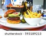 tasty and appetizing hamburger... | Shutterstock . vector #593189213