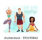 new gym surprise.  cartoon... | Shutterstock .eps vector #593190863