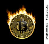 crypto currency golden coin... | Shutterstock .eps vector #593193653