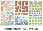vector set. old city.  top view ... | Shutterstock .eps vector #593195033