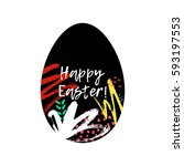 happy easter greeting card.... | Shutterstock .eps vector #593197553