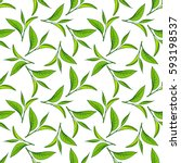 seamless pattern with green tea ... | Shutterstock .eps vector #593198537