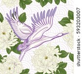 seamless pattern with japanese... | Shutterstock .eps vector #593203007