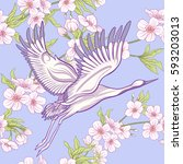 seamless pattern with japanese... | Shutterstock .eps vector #593203013