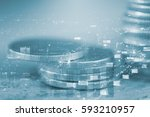 double exposure of coins and... | Shutterstock . vector #593210957