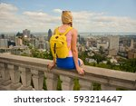 blonde woman looking at... | Shutterstock . vector #593214647