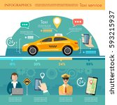 taxi service infographic.... | Shutterstock .eps vector #593215937