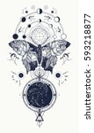 butterfly tattoo in geometrical ... | Shutterstock .eps vector #593218877