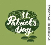 happy st patrick's day vintage... | Shutterstock .eps vector #593220623