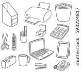 vector set of office accessories | Shutterstock .eps vector #593224817