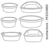 vector set of plastic basin | Shutterstock .eps vector #593224883