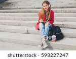 young smiling beautiful hipster ... | Shutterstock . vector #593227247