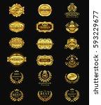 golden badges  stickers premium ... | Shutterstock .eps vector #593229677