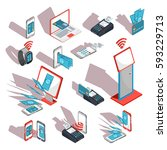 isometric icons of mobile... | Shutterstock .eps vector #593229713