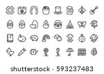 Stock vector spring icon set outline style 593237483