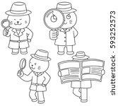 vector set of cat detective | Shutterstock .eps vector #593252573