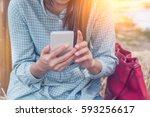 shot view of a woman's hands...   Shutterstock . vector #593256617