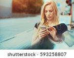 pensive beautiful blonde... | Shutterstock . vector #593258807