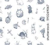 easter seamless pattern  ... | Shutterstock .eps vector #593269067