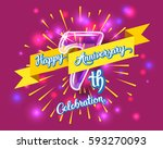 happy 7th anniversary. glass... | Shutterstock .eps vector #593270093