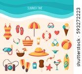 summer vacation accessories... | Shutterstock .eps vector #593272223