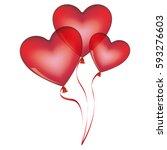 red balloons set in heart shape ... | Shutterstock .eps vector #593276603