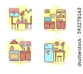 kitchen room. set interiors... | Shutterstock .eps vector #593278163