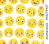 seamless pattern with cheerful... | Shutterstock .eps vector #593279927