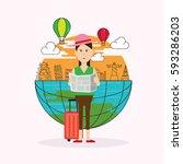 travel landmark and character... | Shutterstock .eps vector #593286203