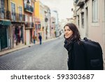 enthusiastic traveler woman...   Shutterstock . vector #593303687