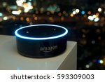 Small photo of Kuala Lumpur, Malaysia - Fabruary 24 : Selective focus on Amazon Echo dot version 2, the voice recognition streaming device from Amazon on table. February 24 2017 in Kuala Lumpur, Malaysia