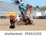 Cowboy Roping A Calf In A Rodeo.