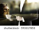 double exposure of business man ... | Shutterstock . vector #593317853