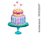 watercolor hand drawn cake of... | Shutterstock . vector #593320247