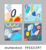 set of artistic creative... | Shutterstock .eps vector #593321597