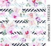 funky seamless vector pattern... | Shutterstock .eps vector #593331623