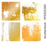 set grunge gold distress... | Shutterstock .eps vector #593332283
