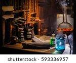 medieval alchemist laboratory... | Shutterstock . vector #593336957